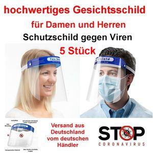 5 Stück Gesichtsschutz Visier Transparenter Schutzschild Gesicht, Gesichtsschild aus Kunststoff, Gesichtsschutzmaske Face shield, 32x22cm