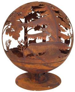 Rivanto® Elchmotiv Feuerball 58 x 58 x 66 cm, aus Metall, gelasert, in Rost-Optik, mit Standfuß