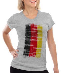 style3 Deutschland Vintage Flagge Damen T-Shirt EM WM Olympia, Farbe:Grau meliert, Größe:S