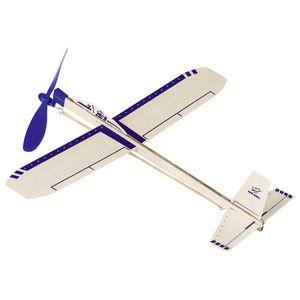 goki 15505 Segelflugzeug Eagle Jet, L= 35,5 cm, Balsaholz, mit Gummimotor, blau/natur