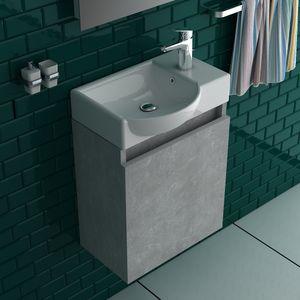 Alpenberger Badmöbel Set Keramikbecken  mit Unterschrank grau vormontiert Gäste WC Lösung
