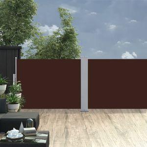Ausziehbare Seitenmarkise 100 x 1000 cm Aluminium Sichtschutz Sonnenschutz Seitenrollo Markise Braun
