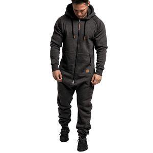 Männer Pure Color Splicing Herbst Winter Casual Hoodie Print Reißverschluss Print Jumpsuit Größe:XL,Farbe:Dunkelgrau