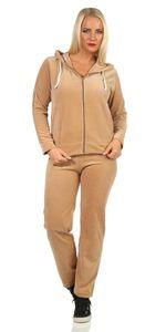 Damen Nicki Freizeitanzug Hausanzug Jogginganzug Nicki-Anzug, Beige XL
