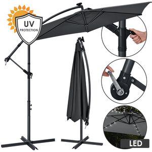 Juskys Ampelschirm Brazil 350 cm LED-Beleuchtung Solar & Kurbel – UV-Schutz wasserabweisend knickbar – Sonnenschirm Marktschirm – grau
