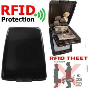 Miixia Geldbörse Aluminium Brieftasche Kreditkarten Etui RFID Schutz Dokument Storage Schwarz