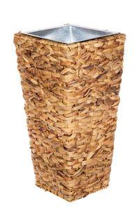 Geflecht-Pflanzsäule 17145D Naturfaser Pflanzkübel Pflanzgefäße Blumenkübel, Größe:Größe L 41cm H x 22cm B