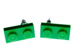Baustein Ohrstecker Miniblings Stecker Ohrringe Spielzeug Baustein grün Rechteck