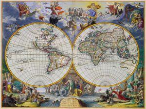 Historische Landkarten Poster Leinwandbild Auf Keilrahmen - Weltkarte 1683, Johannes De Ram (60 x 80 cm)
