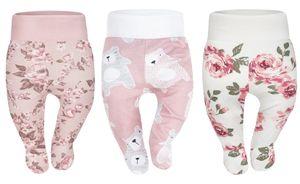 Baby Strampelhose Mädchen Jungs Hose mit Füßen Babyhose 3er Pack Babykleidung 56 Weiß/Puderrosa