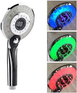3 Farben LED Duschkopf Temperaturkontrolle Farbwechsel Handbrause mit Digital Temperaturanzeige Wassersparmodus