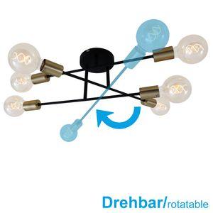 Deckenleuchte Deckenlampe drehbar 6xE27 60W schwarz-goldfarben Briloner Leuchten