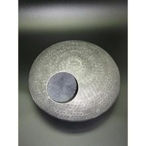 Wandvase, Dekovase DISK UFO silber Aluminium rund flach D. 35cm Lavinia WA