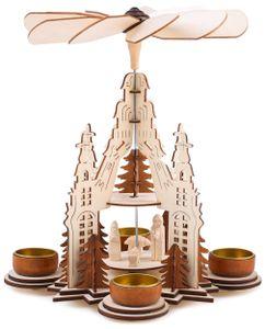 BRUBAKER Weihnachtspyramide 29 cm - Maria, Josef und Jesus - 2 Etagen - Teelichterpyramide mit 4 Teelichthaltern aus Metall - Holz naturfarben - Geschnitzte Figuren