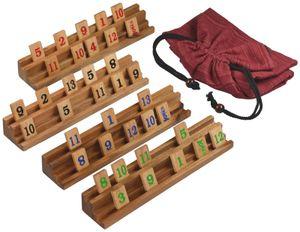 Rummy mit 108 Spielsteinen für 2 bis 4 Spieler - Gesellschaftsspiel - Legespiel - Halterungen und Steine in edler Holzausführung inkl. Stoffbeutel zur Aufbewahrung