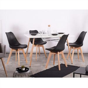 Set mit 4 skandinavischen Esszimmerstühlen - Kunstlederplastik - Buchenholzbeine - Schwarz