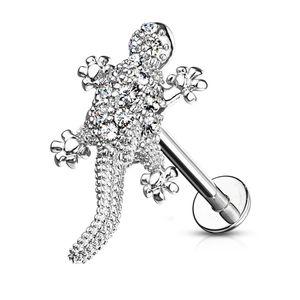 Labret Piercing Lippenpiercing Stab Gecko Eidechse Monroe Madonna Medusa Stecker Stud Zirkonia Kristalle Autiga®  1,2 mm 8 mm