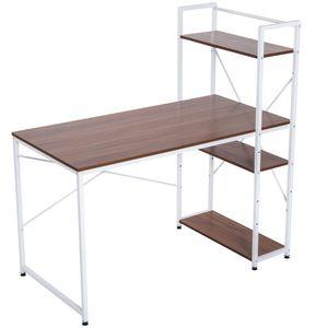 HOMCOM Schreibtisch Computertisch Arbeitstisch Bürotisch mit Regal Weiß 120x64x121cm
