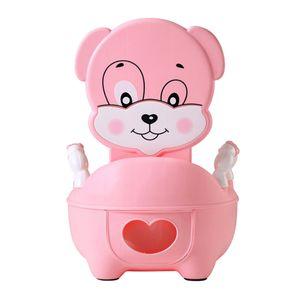 Kind Kleinkind Töpfchen Toilettenstuhl mit Griffen Sitz für Jungen und Mädchen Rosa 34x32x47cm Karikatur Toilette
