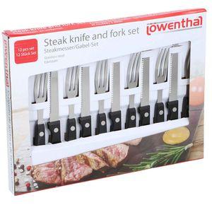 Löwenthal 12 teiliges Grill Steakmesser-Set aus Edelstahl, schwarz