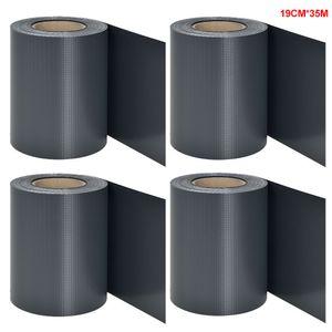 4 Rollen á 35m x 19cm PVC Sichtschutzstreifen Doppelstabmatten Zaun  Befestigungsclips  Zaunfolie Sichtschutz Windschutz Anthrazit