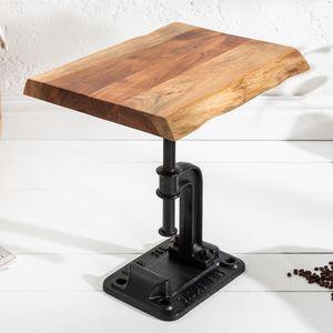 Industrial Beistelltisch FACTORY 43cm Akazie Massivholz Wohnzimmertisch Couchtisch Sofatisch Kaffeetisch Nachttisch