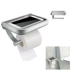 Toilettenpapierhalter mit Ablage Klopapierhalter Edelstahl Ohne Bohren Klorollenhalter Selbstklebend oder Wandmontage Polierter Chrom