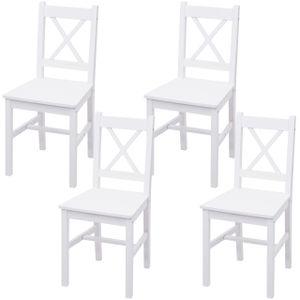 4x Esszimmerstuhl HWC-F77, Lehnstuhl Küchenstuhl Stuhl, Massiv-Holz Landhaus  weiß