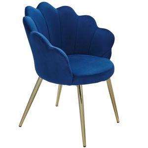 WOHNLING Esszimmerstuhl Tulpe Samt Blau Gepolstert   Küchenstuhl mit Goldfarbenen Beinen   Schalenstuhl Skandinavisches Design   Polsterstuhl mit Stoffbezug
