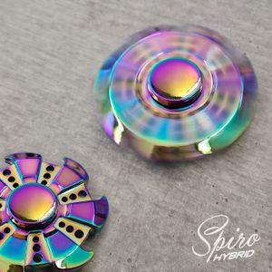 Fidget Spinner Metall Edition Hand Spiner Finger Regenbogen Kreisel Anti Stress Spielzeug Rainbow Chrome (Modell 2 - inkl. Tasche)