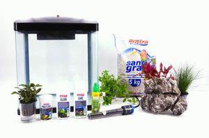 HR-300 schwarz inklusive Dekoration Nano Aquarium Komplettaquarium Filteranlage