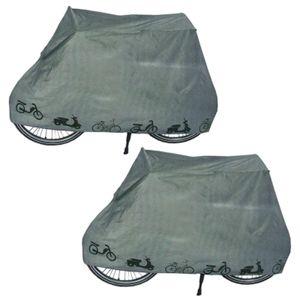2er Set Fahrradgarage Fahrrad Schutzhülle Wasserdicht | Abdeckplane Zweiradgarage Grau | Rollerabdeckung Moped Schutzhaube