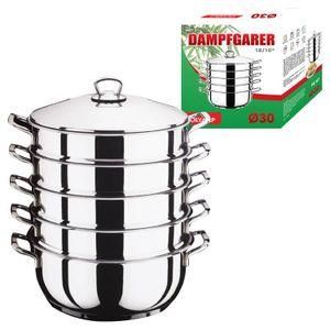 Mantowarka Dampfgarer 30 cm Dampfkocher Dampfkochtopf 6 Tlg Set Edelstahl Mantykocher