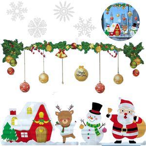 Weihnachten Fenstersticker, Fensteraufkleber PVC Fensterbilder Weihnachten Fensterdeko selbstklebend Fensterfolie Weihnachtsdekoration