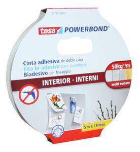 Tesa 55741 Indoor Powerbond 5 m x 19 mm Montage Klebeband doppelseitig stark
