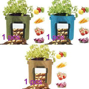 Mllaid 3Pack Pflanze wachsen Tasche Belüftung Stoff Töpfe mit Griffen und Fenster, Heavy Duty Gemüse Karotte Zwiebel Obst Filz Pflanztöpfe mit für Outdoor Indoor Garten Baumschule Pflanzung