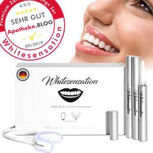 Zahnaufhellung Set - Premium Zahnbleaching für weiße Zähne von Whitesensation©  | Nachhaltiges Zahnbleaching Gerät mit Gel-Stiften | Teeth-Whitening Kit zum Zähne aufhellen | Bleaching Set
