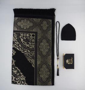 Lale Collection® Premium Herren Gebetsteppich-Set Schwarz-Gold + Gebetskette + Gebetsmütze + Koran - Seccade takke tasbih Namaz Bayram Sejjada Tesbih 99'lu Quran Islam Muslim