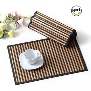 LOVECASA 6 teilig Platzset, Bambus Tischmatte, 45 x 30 cm, Tischset für 6 Personen