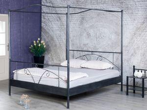 Himmelbett LAURA 180x200 schwarz/silber gewischt von BedBox