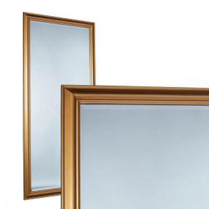 Wandspiegel Spiegel 180 x 80 cm gold schlichter Landhaus-Stil Facettenschliff