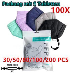 FFP2 Maske  Mundschutzmaske Atemschutzmaske Gesichtschutzmaske 5-lagiger (100 Stück Bunt)
