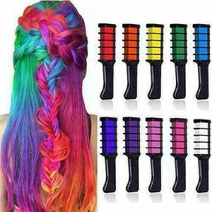 Miixia Haarkreide Haarfarbe Haar Kreide Haartönung Haarkamm Färben Tönung 10 Farben Set