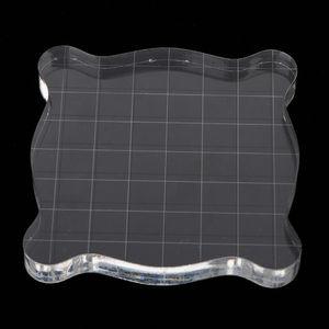 Klare Acryl Block Stempel Block mit Raster Stanz Scrapbooking Werkzeug 75x75mm