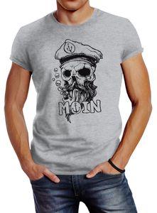 Herren T-Shirt Moin Kapitän Totenkopf Anker Bart Hamburg Fashion Streetstyle Neverless®  grau 4XL