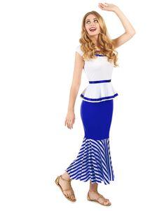 Gallierin Damenkostüm blau-weiss