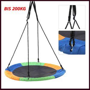 XXL Nestschaukel 100cm Kinder Rundschaukel Tellerschaukel Schaukel bis 200KG Tuch+Stahlrohr Sicher Dauerhaft Verstellbare Höhe