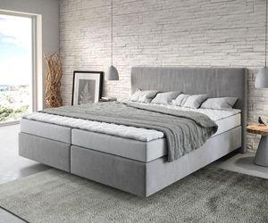 Bett Dream-Well Mikrofaser Grau 180x200 cm mit Matratze und Topper