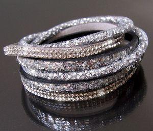 Armband Wickelarmband Netzschlauch Leder Glitzer Strass Silber Slakearmband Damen Schmuck A2048