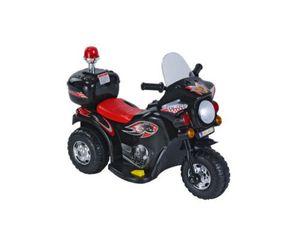 Kinder Elektro Polizei Motorrad Fahrzeug Kindermotorrad Akku Elektromotorrad, Farbe:Schwarz
